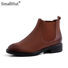 Cow Leather Low Heel Ankle Boots Women Autumn Ladies Fashion Square Heels E116 Elegant Woman Black Brown Round Toe Boots Shoes цены онлайн