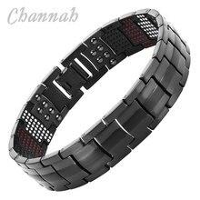 Channah 2017 Men Black Health Bracelet 4in1 Magnets Negative Ions Germanium Far Infra Red Titanium Bangle Fashion jewelry Charm