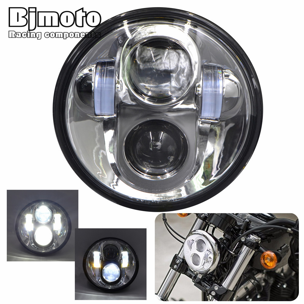 BJMOTO H4 5.75 inch Motorcycle Projector Daymaker LED Headlight High/Low Beam Light For Harley Davidson Tour Glide Free Shipping 5 75 led motorcycle headlight high low beam motor led headlamp driving light for harley davidson projector daymaker headlights
