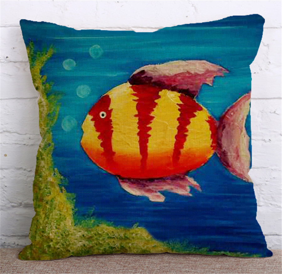 b5481df4390b Ocean Fish Oil Paint Cushion Covers Starfish Dolphin Pillow Cases Colorful Marine  Life Pillow Covers Bedroom Sofa Decoration-in Cushion Cover from Home ...