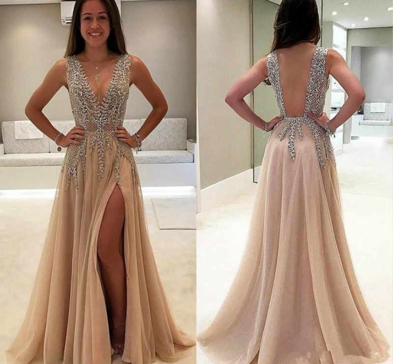 SSYFashion New Luxury Beading   Evening     Dress   Sequins Sexy V-neck Backless High-split Champagne lllusion Long Formal Prom Gown