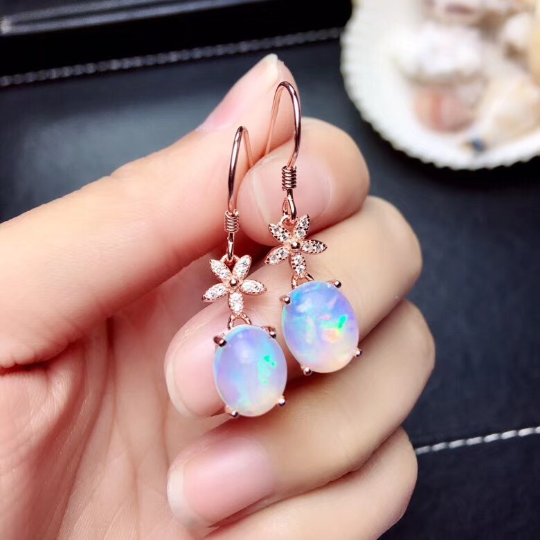 Natural Opal gemstone stud earring with silver hooker for beautiful womenNatural Opal gemstone stud earring with silver hooker for beautiful women