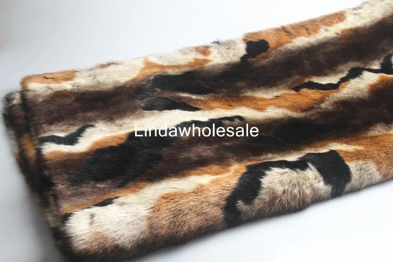 Fourrure de lapin Imitation haute qualité, impression de décoloration et teinture de tissu en fausse fourrure, 1.5 cm de tissu en peluche épais et doux, 160 cm * 47 cm