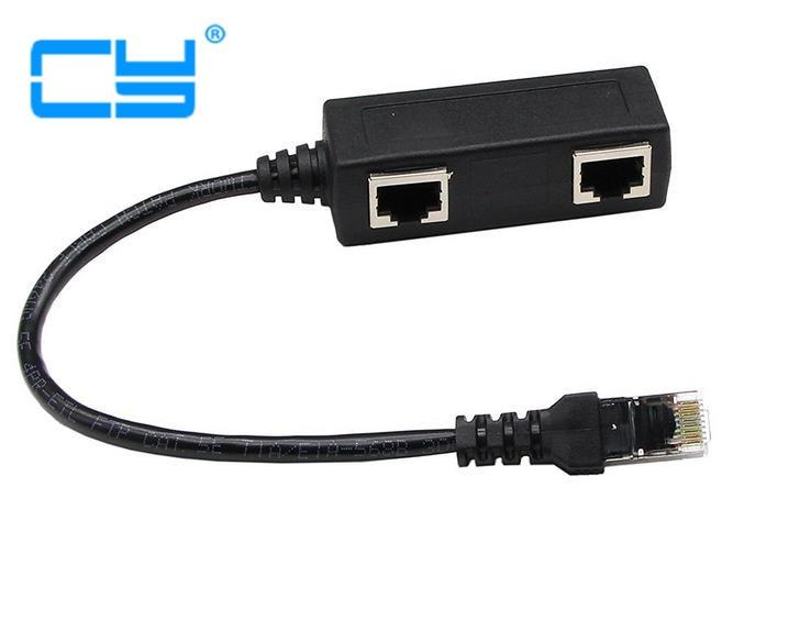RJ45 Network Splitter Adapter Cable, 1 RJ45 Female To 2 RJ45 Female Network Y Splitter Cable,0.25m