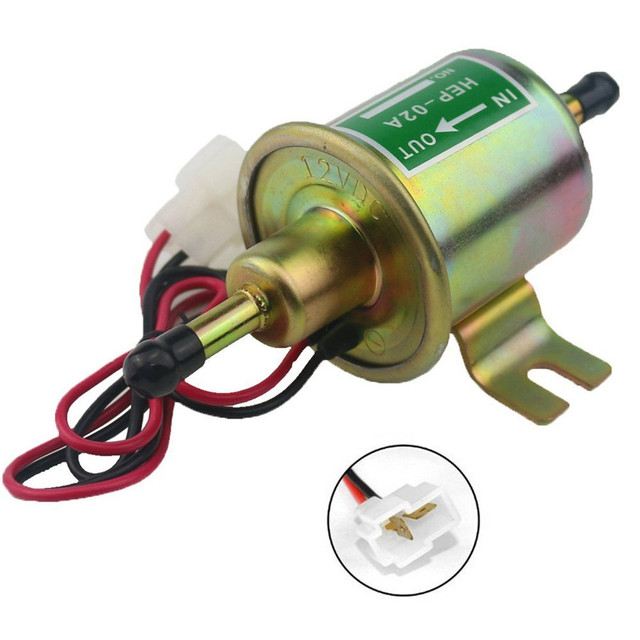 12v Universal Micro Electric Fuel Pump Shut Off Pressure Gas Sel Inline Low Metal
