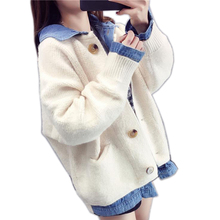 Fake 2 pieces Women Cardigans Sweater Solid Loose Knitwear Single Breasted Casual Knit Cardigan Outwear Winter Jacket Coat femme