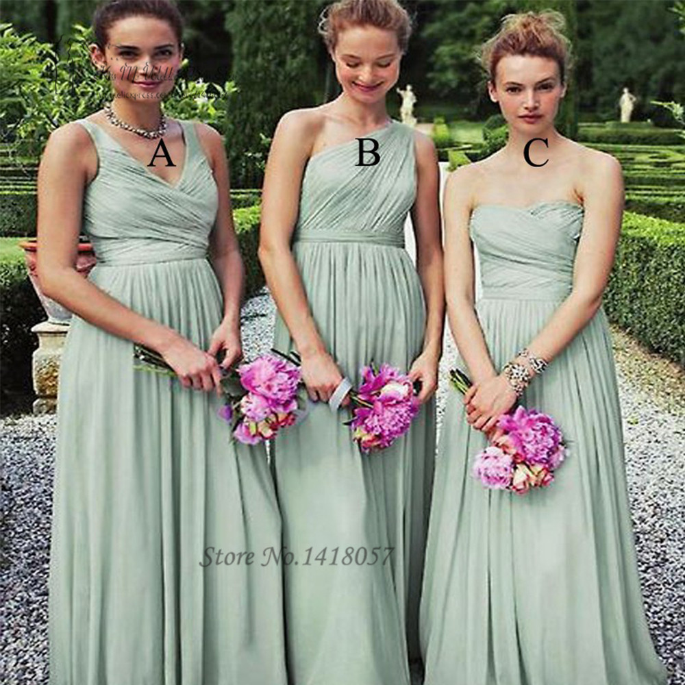Vestido de Festa de Casamento Mint Green   Bridesmaid     Dresses   Long Three Styles V Neck One Shoulder Sweetheart Wedding Party   Dress