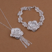Silver plated ornate noble high quality refined luxury openwork flowers two piece sets hot selling classic silver jewelry S438