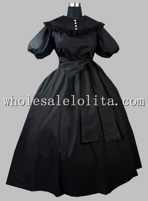 Gothic Black Cotton Victorian Era Dress with Removable Collar Dress(China)