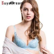 7c263eea75 REAL SILK Women Lace Bra Comfortable Wire Free Bras 100%Natural Silk  bralette Thin padding Black Pink Beige Blue bralett
