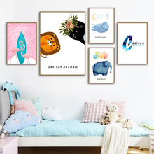 Wall Art Canvas Painting Lion Flamingo Elephant Hippo Cartoon Animal Nordic Posters And Prints Pictures For Kids Room Decor