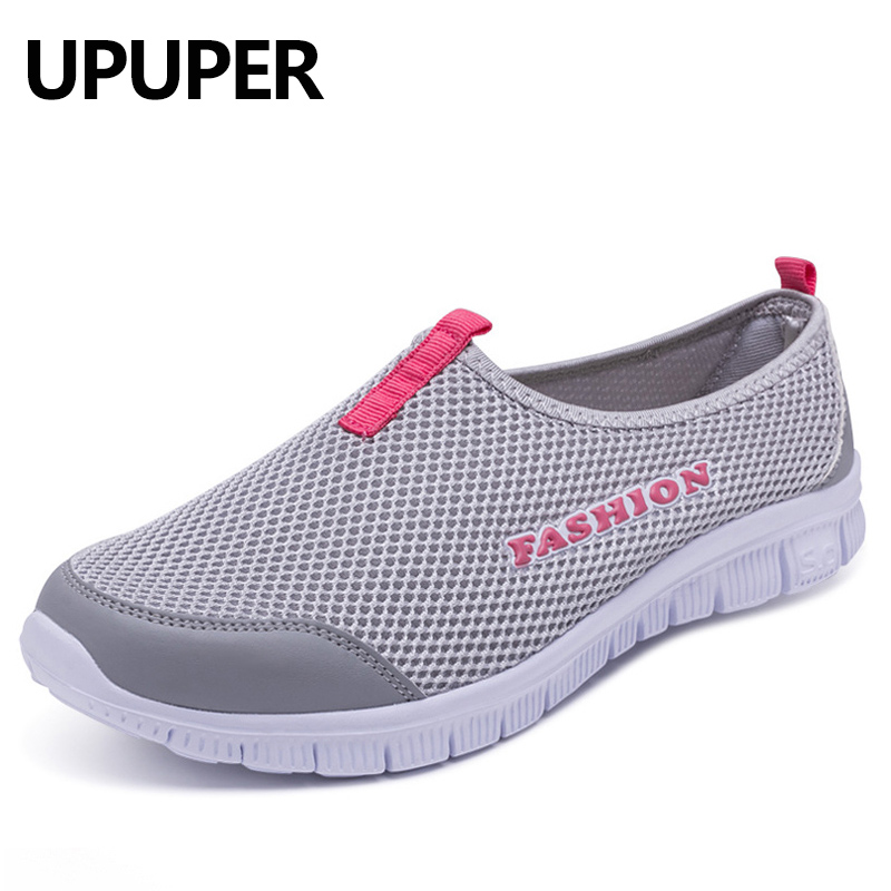 UPUPER Sneakers Women Shoes 2019 Summer Breathable Mesh Slip-On Shoes Woman Running Shoes Ultralight Ladies Sports Walking