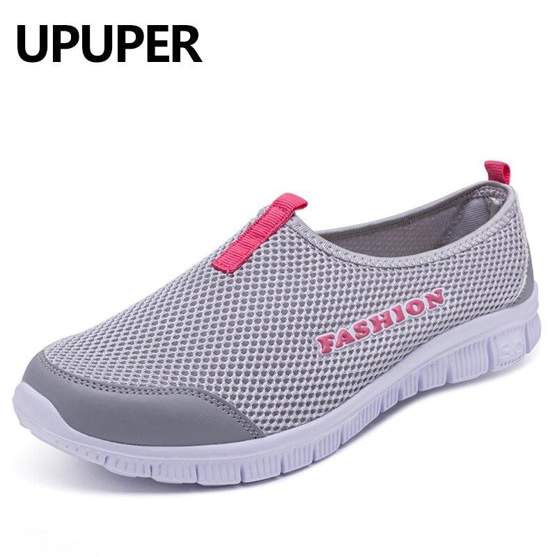 Zapatos de Running zapatillas para las mujeres 2018 verano luz de malla transpirable Slip-On zapatos mujer barato deportes al aire libre zapatos cómodos