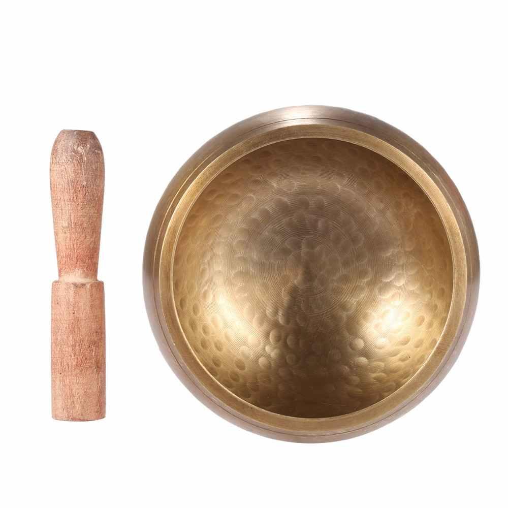 Indah 4.7 Inci Logam Bernyanyi Mangkuk Handmade Tibet Bell dengan Striker Ajaran Buddha Buddhst Meditasi Penyembuhan Relaksasi Yoga