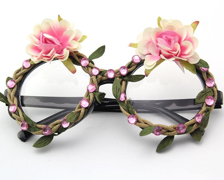 4bff3010d 2018 فريد الفاخرة السيدات نظارات الموضة الرجعية جولة كريستال زهرة المتضخم  النساء اليدوية نظارات شمسية FML