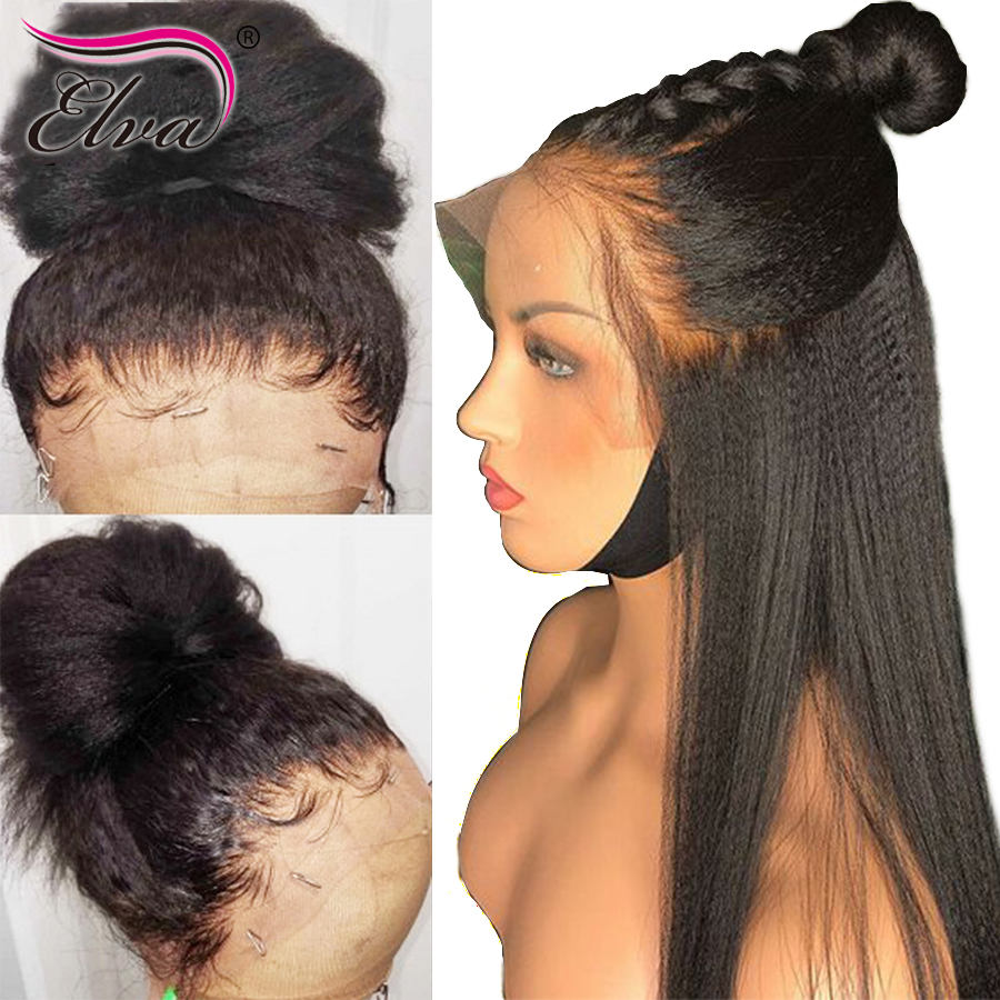 Yaki Straight Full Lace Wig With Baby Hair Glueless Full Lace Human Hair Wigs Brazilian Remy