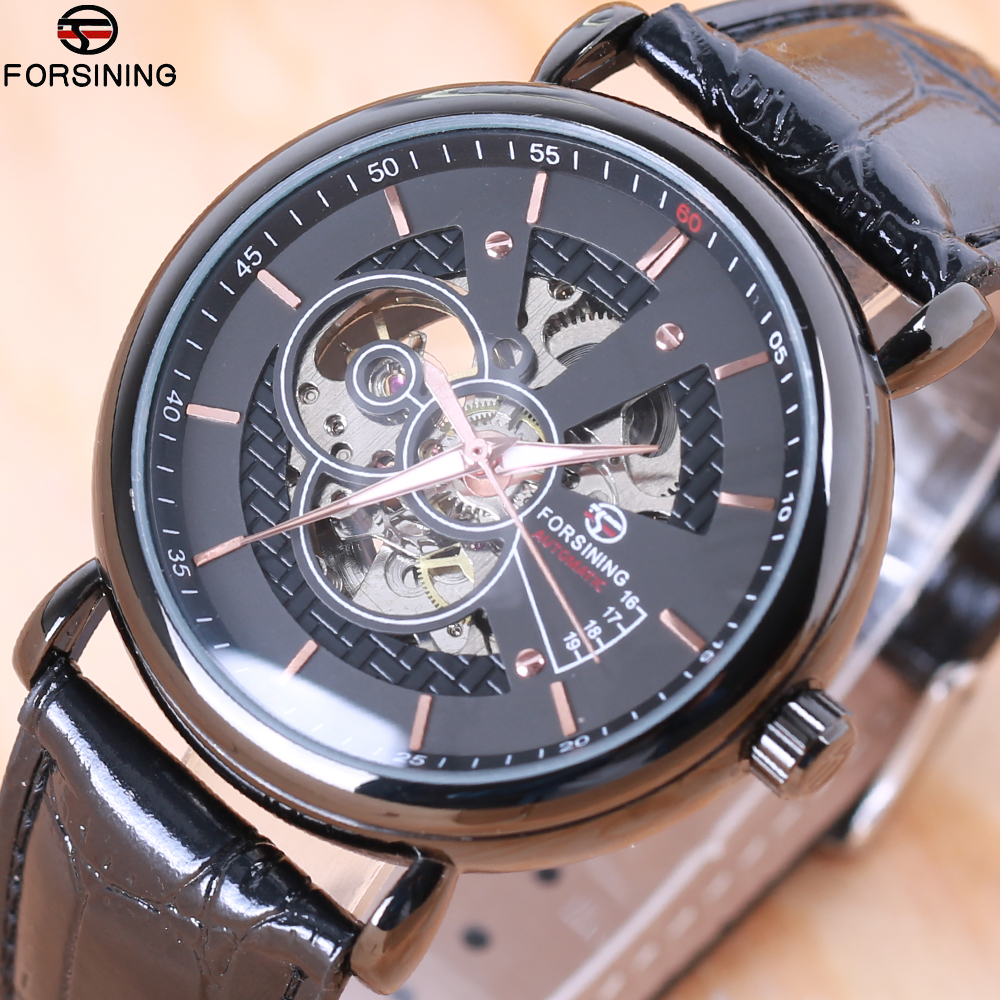 2018 Forsining Hollow Engraving Skeleton Casual Designer Black Golden Case Gear Bezel Watches Men Luxury Brand Automatic Watches forsining 3d skeleton twisting design golden movement inside transparent case mens watches top brand luxury automatic watches