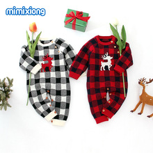 Baby Toddler Christmas Romper Knitting Elk Plaid Open Stitch Rompers Infant Boys Girls Autumn Winter Long Sleeve Clothes0.7kg#39