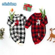 תינוק פעוט חג המולד Romper סריגה איילים משובץ פתוח תפר Rompers תינוקות בני בנות סתיו החורף ארוך שרוול Clothes0.7kg #39