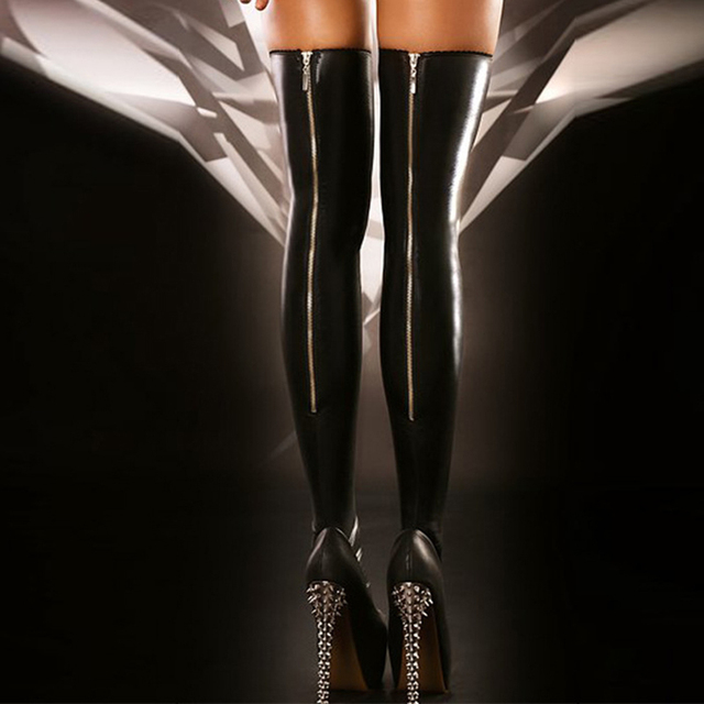 a491e6279 Hot Sexy Black Faux Leather Stockings Back Zipper Women Stocking Trendy Thigh  High Socks Novelty Lingerie Club Dance Wear