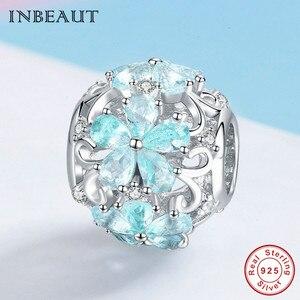 Image 3 - INBEAUT 100% Plata de Ley 925 auténtica OCéANO AZUL agua copo de nieve tallada perlas encanto marca pulsera de joyería
