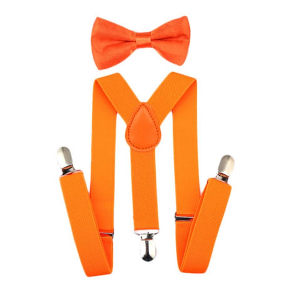 Регулируемая мода мальчиков хлопчатобумажный галстук вечерние галстуки подарок высокое качество для маленьких мальчиков малышей бабочка галстук-бабочка+ на подтяжках комплект одноцветное Цвет - Цвет: Orange