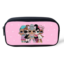 THIKIN Cartoon Kid Pencil Box American Girls Pattern Women Cosmetic Bag Makeup Case Children Girls Pen Bag Kid Like