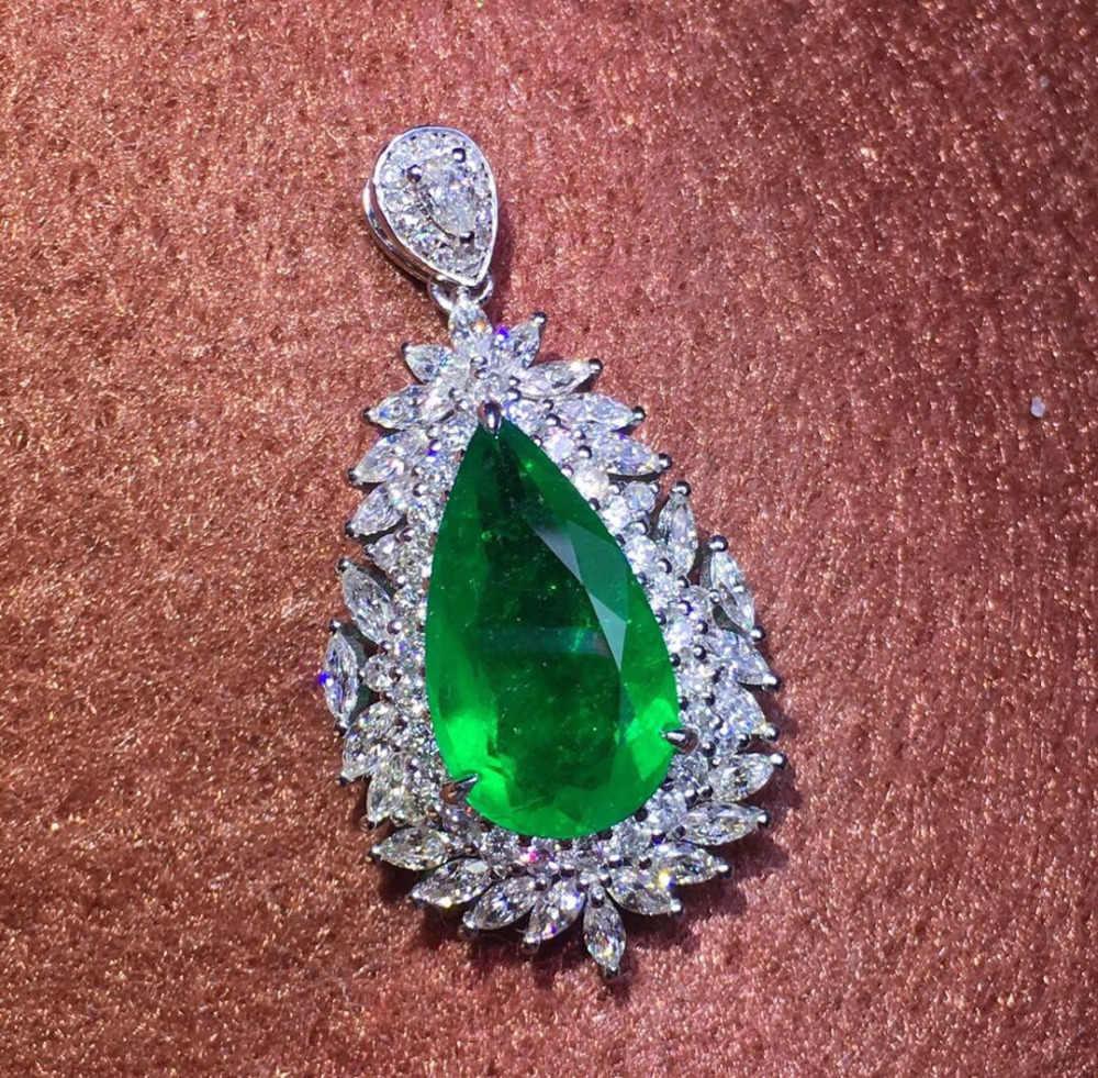 GRS โคลอมเบีย Emerald เครื่องประดับ 18 K สีขาวธรรมชาติ 2.31ct Emerald อัญมณีหญิงจี้สำหรับสร้อยคอผู้หญิง