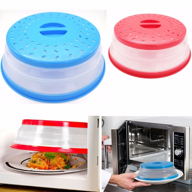 New Folding Microwave Oven Cover Lid Silicone Plate Colander Strainer Fruit Vegetable Wash Basket Kitchen Tools