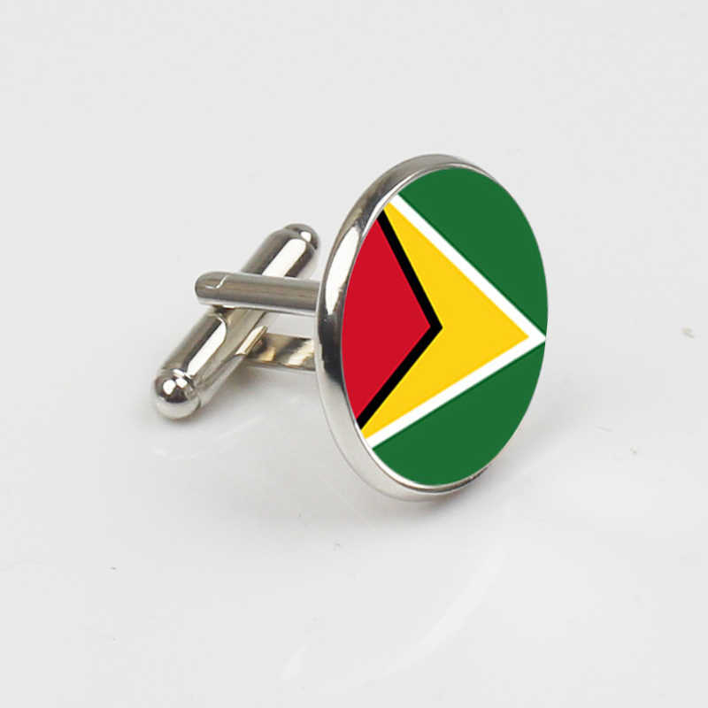 ZBOZWEI 2018 yeni renk özelleştirilmiş kol düğmeleri düğün Groomsmen kazınmış Guyana ulusal bayrak manşetleri erkek takı hediyeler