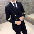 2016 Long Mens Blazer Jackets Black Gold Blazer Double Breasted Navy Gold Mens Blazer Coat Fashion Design Prom Party Blazer