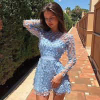 Adyce 2019 New Summer Women Lace Celebrity Evening Party Dress Sexy Long Sleeve O Neck Floral Hollow Out Mini Club Dress Vestido