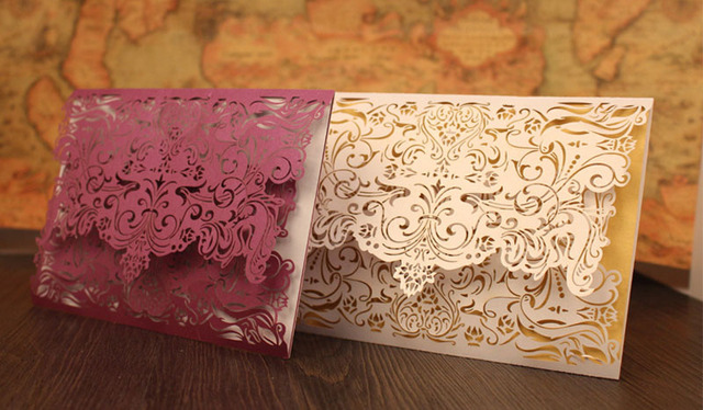 50pc Lot Elegant Wedding Invitation Card Lace Pearl Paper Laser Cut