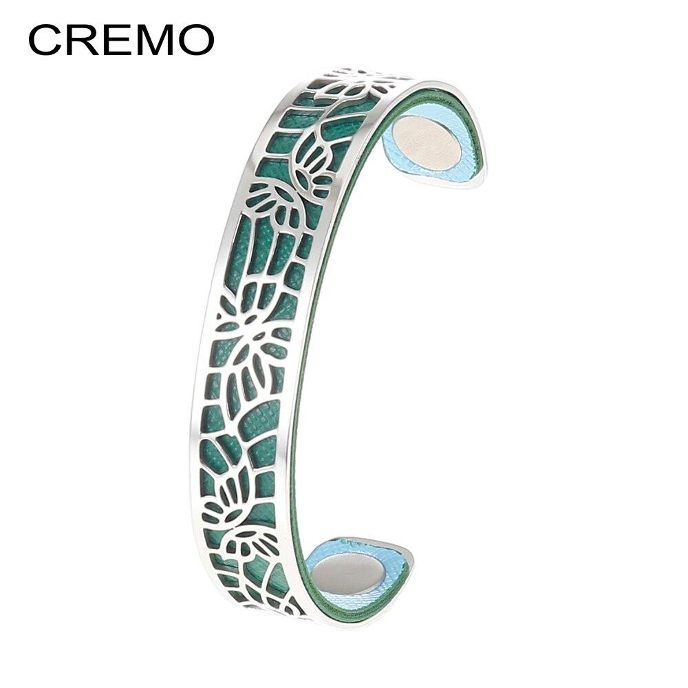 Cremo Georgette Manchette papillon Manchette étroite Bracelet pour femme Argent acier inoxydable creux Bracelet changeant bijoux en cuir