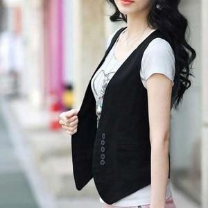 Image 2 - Ms colete slim vestido coreano para mulheres, colete/colete pequeno