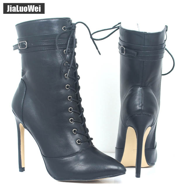 b3b489a5f2e jialuowei Brand New Fashion Women Boots 12CM High Heels Sexy Fetish Pointed  Toe Ankle Boots Ladies Shoes Botas Mujer Plus size-in Ankle Boots from Shoes  on ...