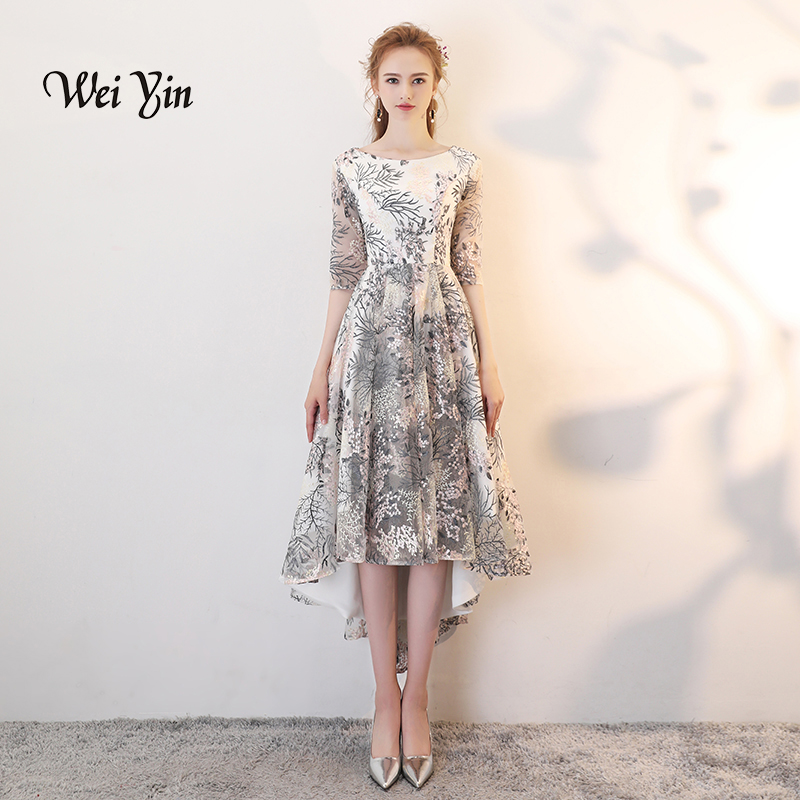 weiyin Simple High Low   Evening     Dresses   Long 2018 Elegant O-neck Half Sleeves Lace Prom   Dresses   For Graduation WY825