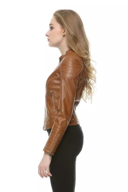 Womens brown leather jacket sale