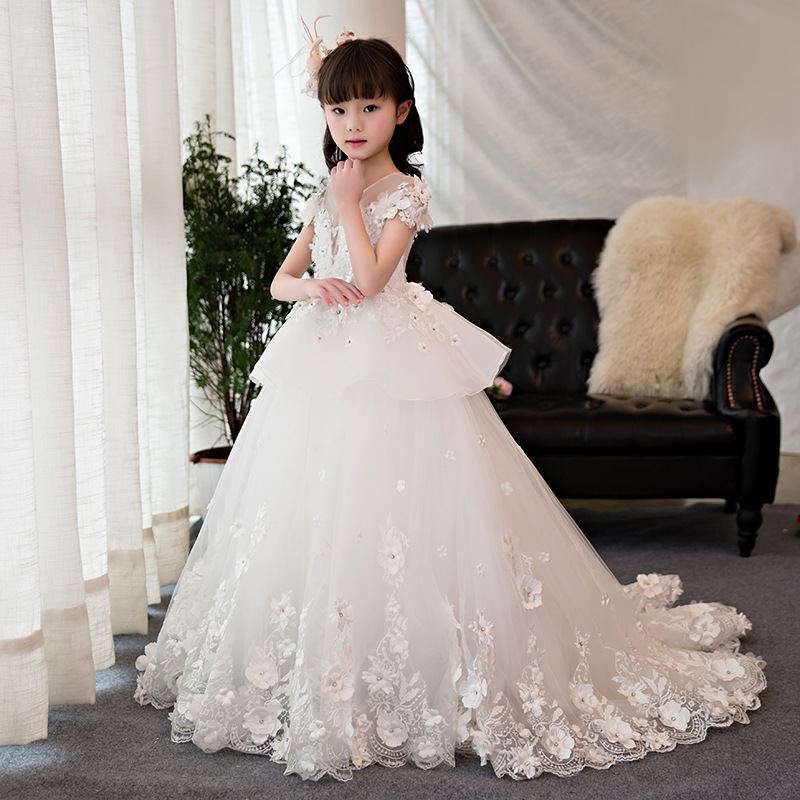 First Holy Communion Dress Long Trailing Flower Girl Dresses Wedding Floral Beading Party Gowns Layered Ball Gown Princess Dress luxury princess dress evening gowns birthday floral pearl beading girls formal dress detatchable trailing flower girl dresses b