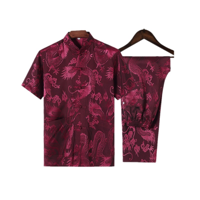 Top For Men Male Tangzhuang Clothes Traditional Chinese Clothing  Tang Ethnic Shirts Men Costume Men Cotton  Shirts Short Sleeve