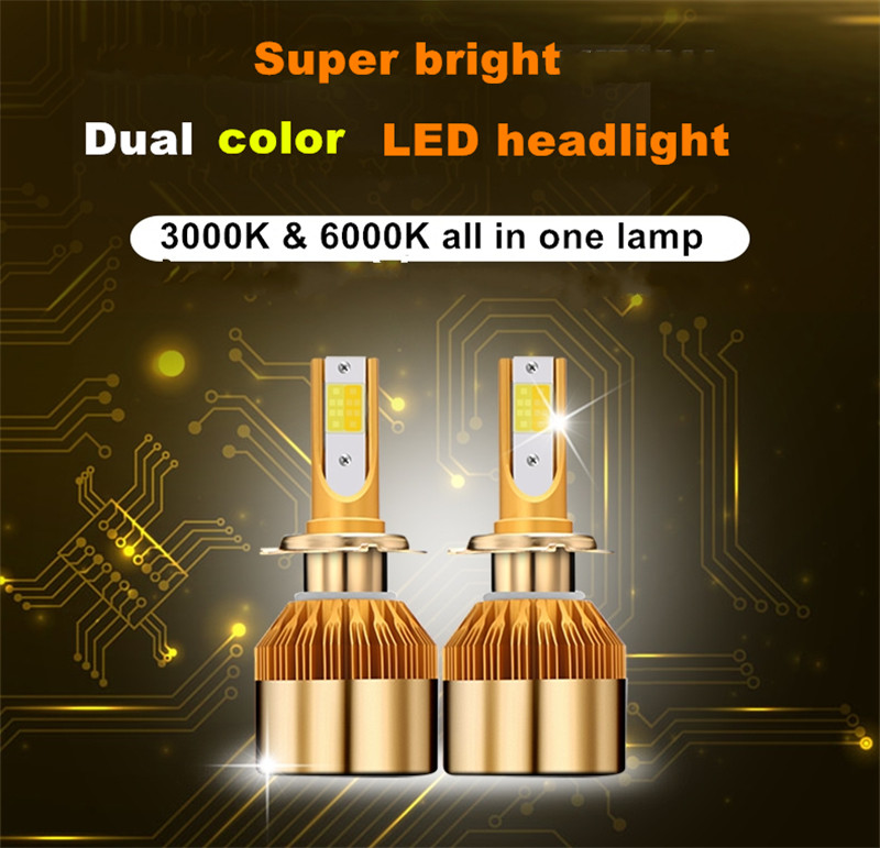 цены Muxall 2pcs White Gold Color 12V 38W 1000LM H4 H7 H1 H3 H8 H9 H11 Led Car Headlight 3000K 6000K Dual Color Led Headlamp