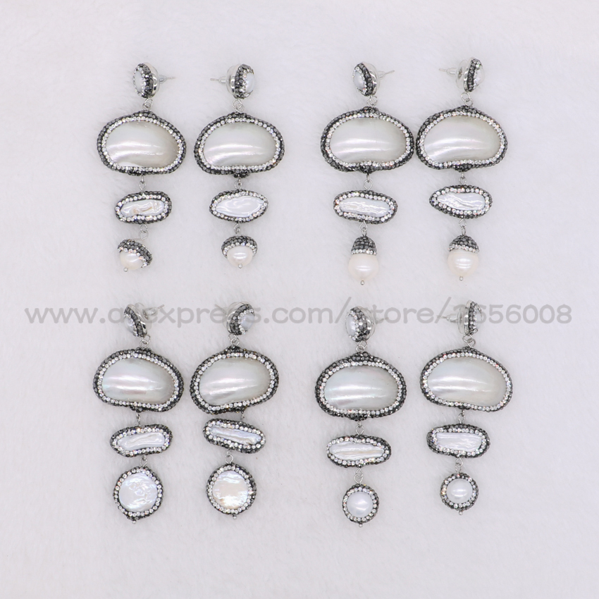 Wholesale natural big shell pearl pave cz beads connection dangle earrings handcrafted drop earrings jewelry for