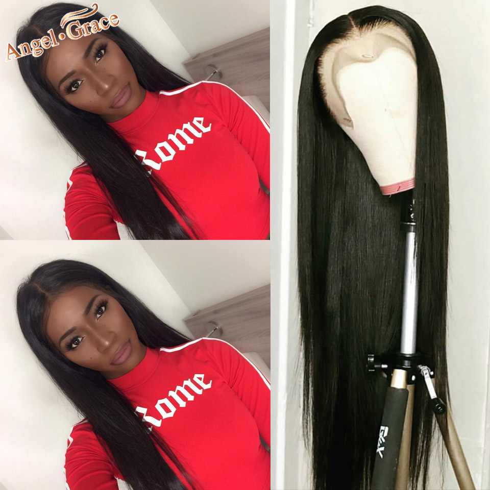 Peruvian Straight Human Hair Wigs Angel Grace Lace Front Humain Hair Wigs With Baby Hair Remy