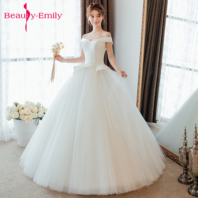 e59cd693d151 Beauty Emily Sexy Boat Neck Spring Pure White Wedding Dresses Floor length  Wedding Party Bridal Gowns lace-up Vestidos de festa