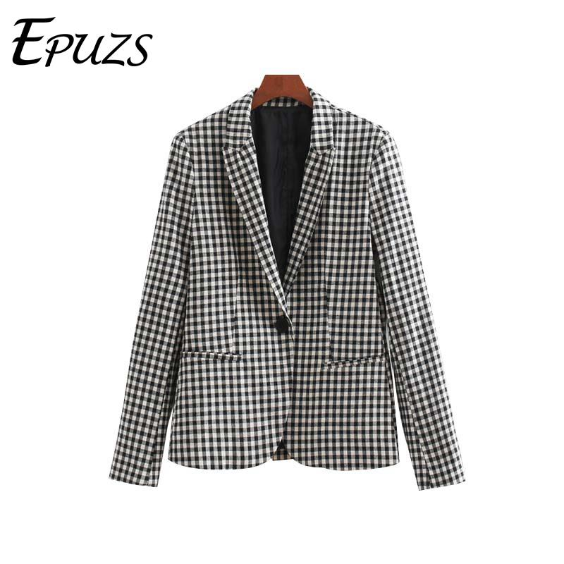 Blazer Feminino Black Plaid Blazer Women Vintage Office Women Blazers And Jackets Pockets Coat Female Casual Korean Blazer 2019