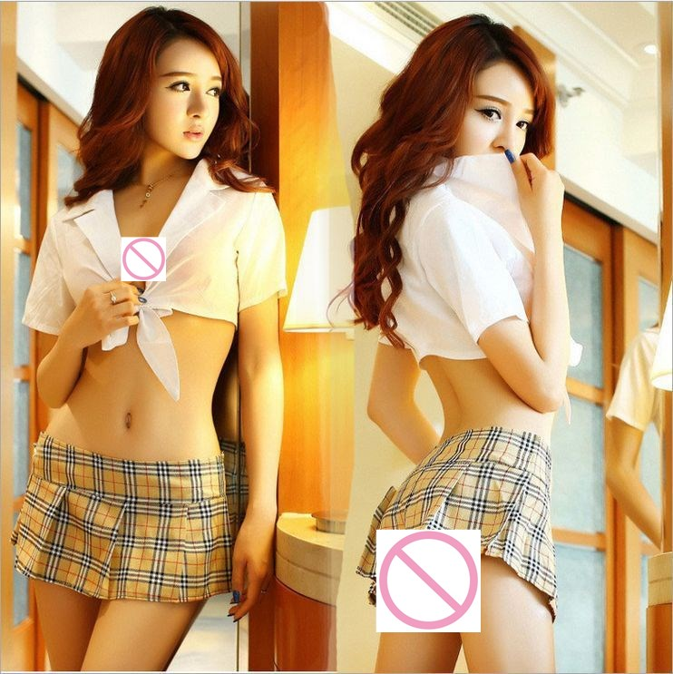 2018 Hot Cosplay Student Uniforms Sexy Lingerie Women Costumes Sex Products Toy Sexy Underwear Role Play(white Shirt+Kilt)