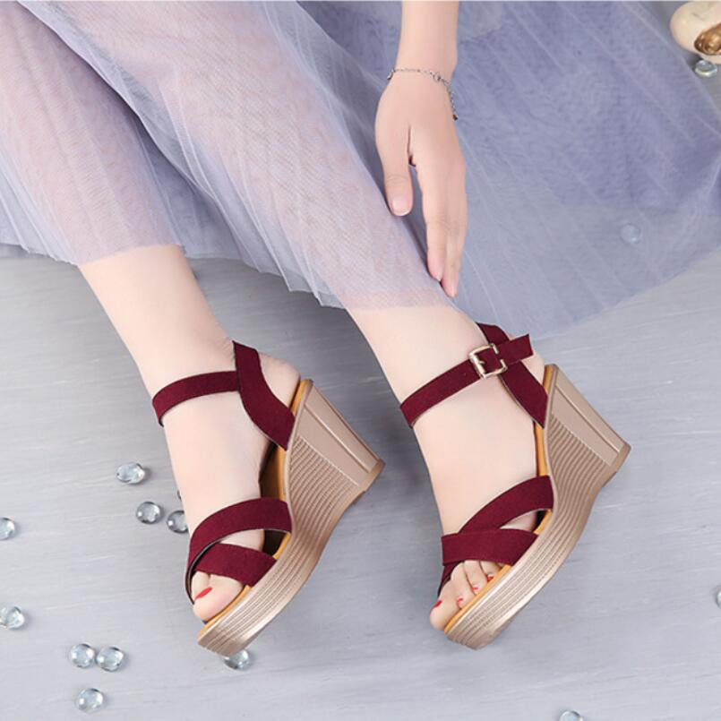 где купить D&Henlu Platform Sandals Women Summer Shoes High Heel Open Toes Strap Shoes Woman Pumps Ankle Strap sandalias de la plataforma по лучшей цене