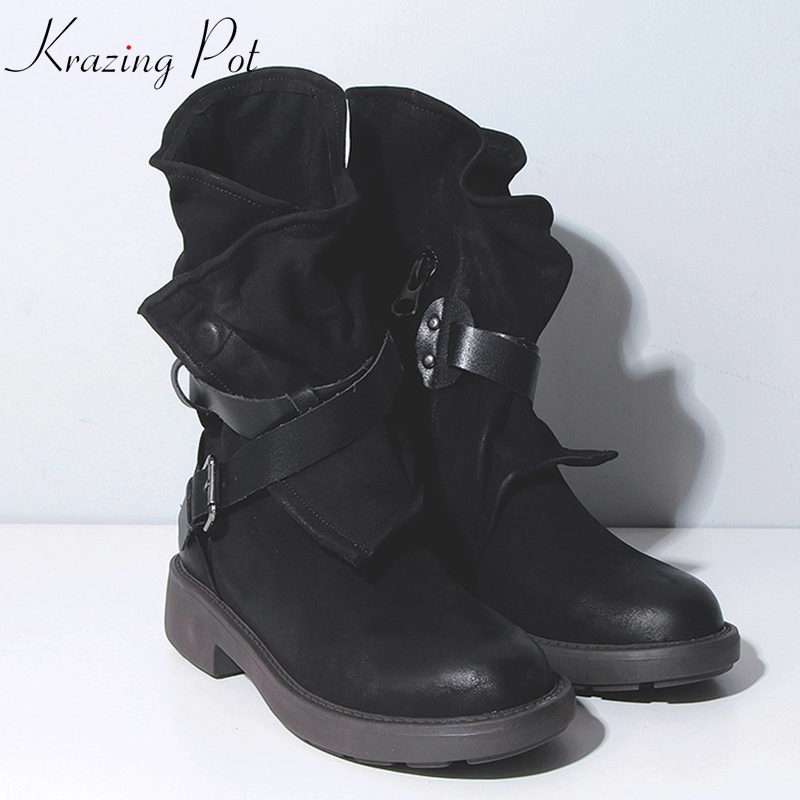 Krazing Pot genuine leather med heels movie star Western boots style keep warm round toe metal buckle straps mid-calf boots L56