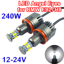 1 Set(2 PCS) 2*120W 240W H8 Angel Eyes LED Marker CREE LED Chips XTE 4800LM White 7000K for BMW E90 E92 X5 E71 X6 E82 M3 E60 E70