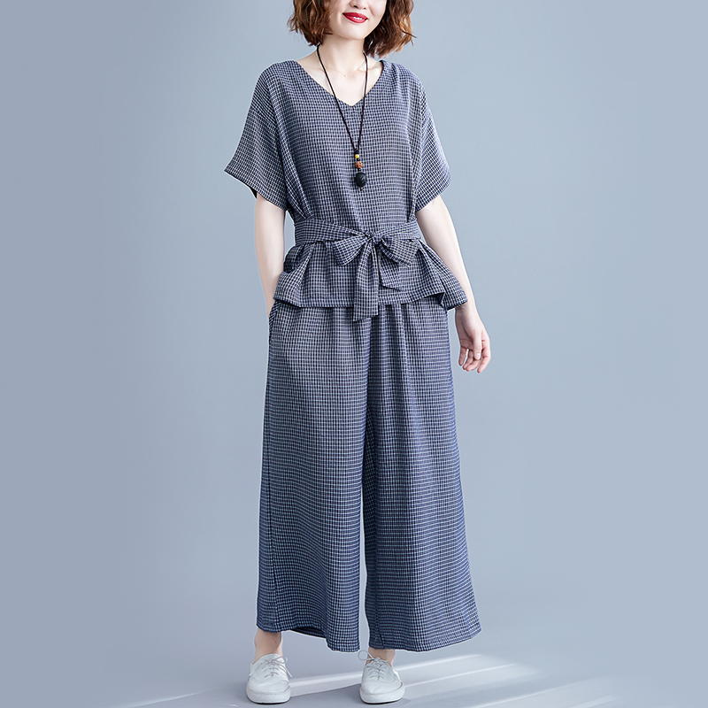0900 Summer V Neck Plaid T Shirt And Wide Leg Pants Women Tie Bow Loose Two Piece Set Top And Pants Plus Size Woman Clothes in Women 39 s Sets from Women 39 s Clothing